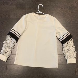 Black & white lace sleeve Chloé blouse